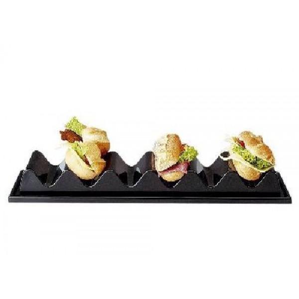 Snackpresenter, mit 3 Fächer, mit Saftrille und Antirutschleiste