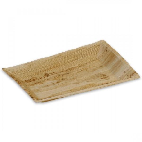 Teller eckig, aus Palmblatt, Länge: 25 cm