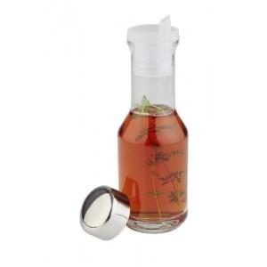 Essig- & Öl-Glasflasche mit Edelstahldeckel und Ausgießer