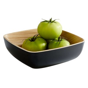 Schale Frida,quadratisch, Länge: 16,5 cm, schwarz / Holzoptik