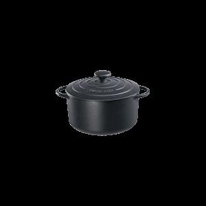 Bratentopf rund mit Gussdeckel, Ø = 24 cm, Provence, schwarz