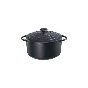 Bratentopf rund mit Gussdeckel, Ø = 26 cm, Provence, schwarz