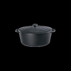 Bratentopf oval mit Gussdeckel, Ø = 33 cm, Provence, schwarz