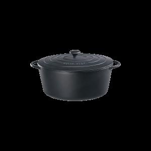 Bratentopf oval mit Gussdeckel, Ø = 35 cm, Provence, schwarz