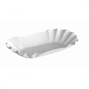 Pappschale oval, beschichtet, Länge: 17 cm