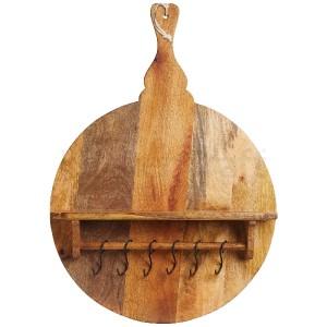Holzregal mit Haken, rund, Prep & Serve