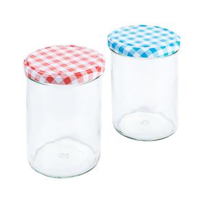 Einkochglas, Inhalt: 435 ml, blau & rot kariert