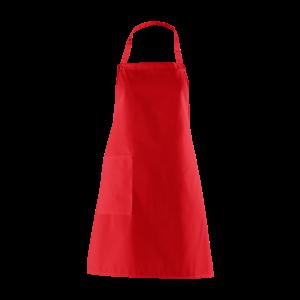 Latzschürze, rot, mit Seitentasche