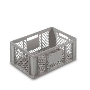 Stapelbehälter grau, Inhalt: 43 l Seiten und Boden gelocht