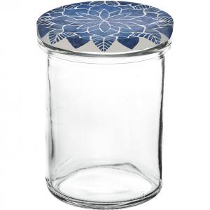 """Einkochglas mit Deckel, Sturzform, Inhalt: 230 ml, """"Mandala blau"""""""