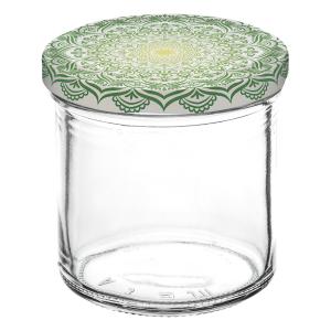 """Einkochglas mit Deckel, Sturzform, Inhalt: 167 ml, """"Mandala grün"""""""