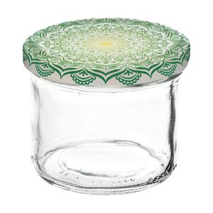 """Einkochglas mit Deckel, Inhalt: 120 ml, """"Mandala grün"""""""