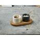 Menage mit 2 Marmor-Schälchen und Löffeln